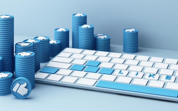 Klawiatura komputerowa z niebieskim kciukiem do góry ikona na niebieskim tle - koncepcja sieci społecznej renderowania 3d