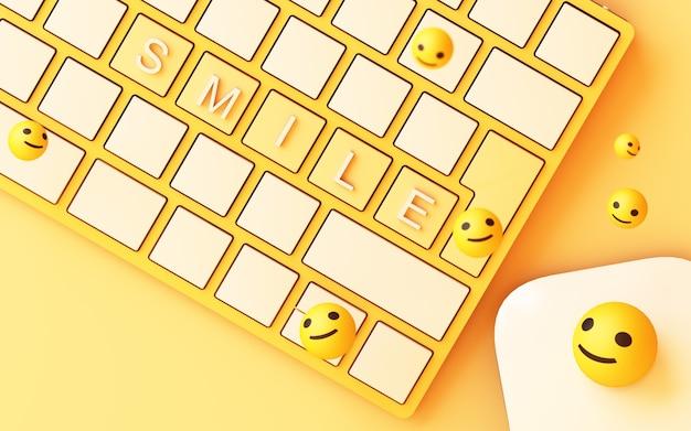 Klawiatura komputerowa z żółtym kluczem uśmiech i twarzą uśmiech na żółtym tle - koncepcja sieci społecznej renderowania 3d