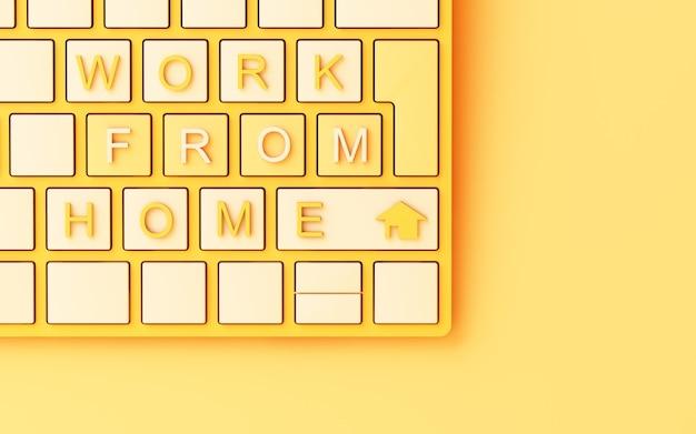 Klawiatura komputerowa z żółtym tekstem pracy z domu na żółtym tle - koncepcja renderowania 3d covid-19