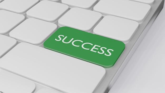 Klawiatura komputerowa ze słowem sukces, koncepcja finansowania biznesu 3d randering