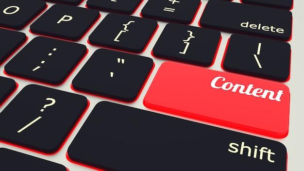 Klawiatura laptopa z czerwonym przyciskiem zawartości, koncepcja pracy. renderowania 3d