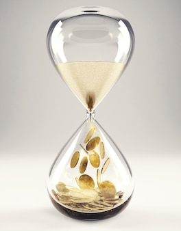 Klepsydra z piaskiem i złotymi pieniędzmi. pojęcie czasu to pieniądz renderowanie 3d