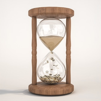 Klepsydra z piasku i monet euro. koncepcja czasu i pieniędzy. renderowania 3d.
