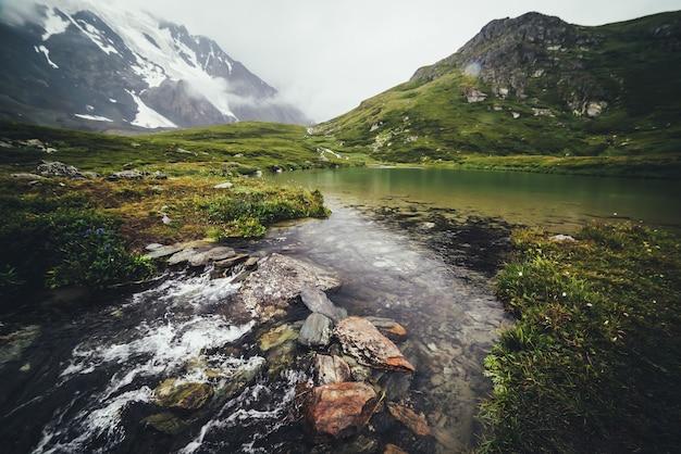 Klimatyczny krajobraz górski ze strumieniem wody z jeziora polodowcowego. piaszczyste dno górskiego jeziora z kamieniami. piękne alpejskie krajobrazy z górskim strumieniem z przezroczystego jeziora w deszczową pogodę.