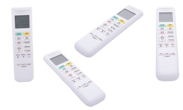 Klimatyzacja pilot na białym tle na białym tle. kontrola temperatury w domu