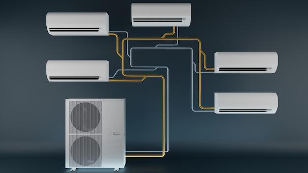 Klimatyzator wielosystemowy jedna jednostka zewnętrzna i kilka jednostek wewnętrznych 3d