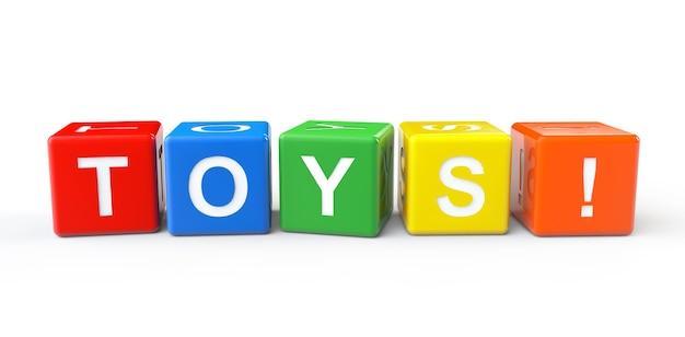 Klocki z zabawkami znak na białym tle
