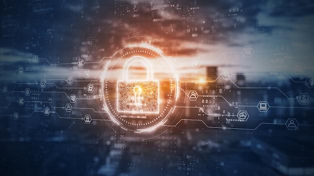 Kłódka cyfrowych danych bezpieczeństwa cybernetycznego