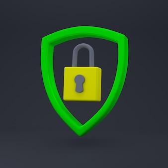 Kłódka w znaku tarczy. bezpieczeństwo, bezpieczeństwo, ochrona, pojęcie prywatności.
