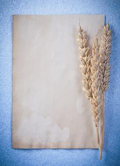 Kłosy pszenicy vintage pusty arkusz papieru na niebieskiej powierzchni