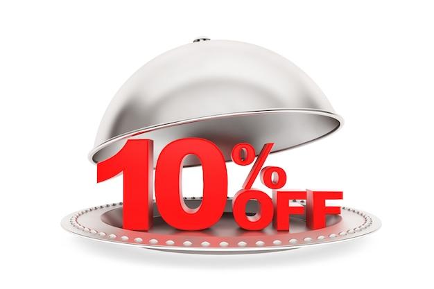 Klosz restauracji z 10% rabatem zaloguj się na białym tle