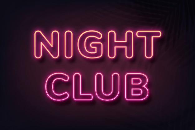 Klub nocny w stylu neonowym typografii na czarnym tle