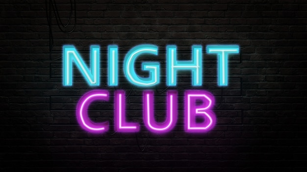 Klub nocny znak godło w stylu neonowym na tle ściany z cegły
