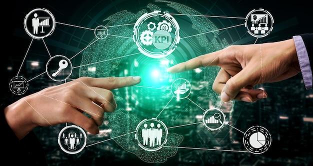 Kluczowy wskaźnik wydajności kpi dla koncepcji biznesowej. liczby analityczne oceny celu pracy.