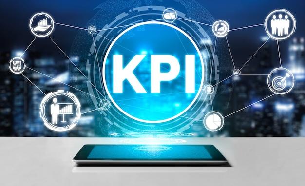 Kluczowy wskaźnik wydajności kpi dla koncepcji biznesowej - nowoczesny interfejs graficzny przedstawiający symbole oceny celu pracy i liczby analityczne do zarządzania marketingowymi kpi