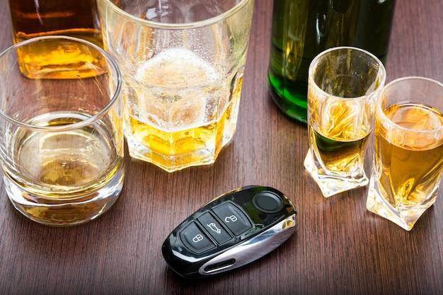 Kluczyk na pasku z rozlanym alkoholem