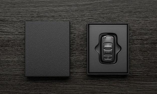 Kluczyki do samochodu w otwartym firmowym pudełku i etui na branding - renderowanie 3d