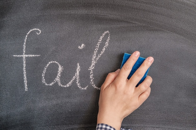 Kobieca dłoń z gąbką wymazuje z tablicy zapisane kredą słowo