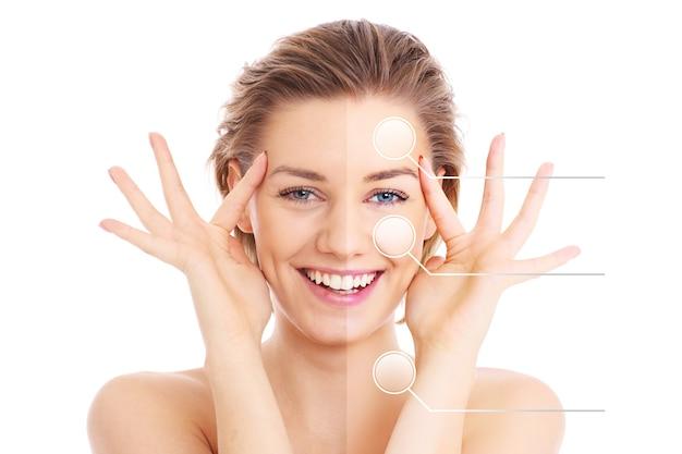 Kobieca twarz przecięta na pół, aby zaprezentować efekty makijażu przed i po makijażu na białym tle