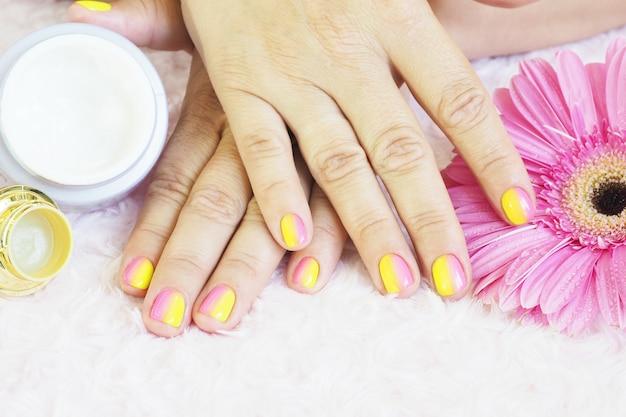 Kobiece dłonie robią manicure. słoiki kremu, pilniczek do paznokci, gerbera i chryzantemy z kroplami wody na jasnoróżowym pluszu