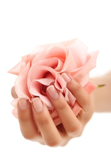 Kobiece dłonie z różową różą. pojęcie kobiecości