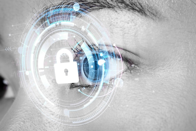Kobiece oko z koncepcją biometrycznej technologii secu inteligentnych soczewek kontaktowych