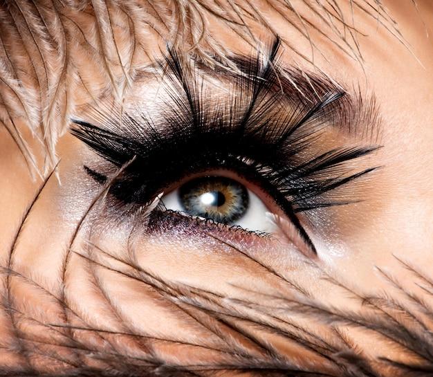 Kobiece oko z pięknym makijażem mody z długimi sztucznymi rzęsami