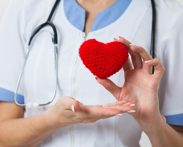 Kobiece ręce pokazujące pluszowe serce