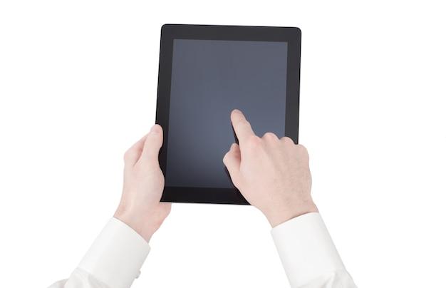 Kobiece ręce trzymając tablet dotykowy gadżet komputerowy z izolowanym ekranem