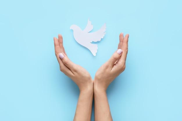 Kobiece ręce z papieru gołąb na powierzchni koloru. międzynarodowy dzień pokoju