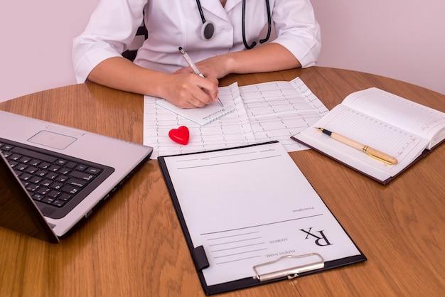 Kobiece ręce z piórem piszą receptę w szpitalu