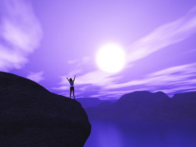 Kobieta 3d stała na klifie z rękami podniesionymi w radości przed zachodem słońca
