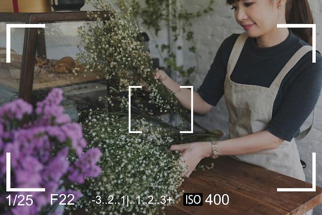 Kobieta aparatu fotograficznego capture snap shot banner