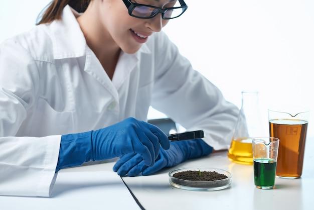 Kobieta asystentka laboratoryjna patrząca przez szkło powiększające biologii kontynuacji chemicznego roztworu