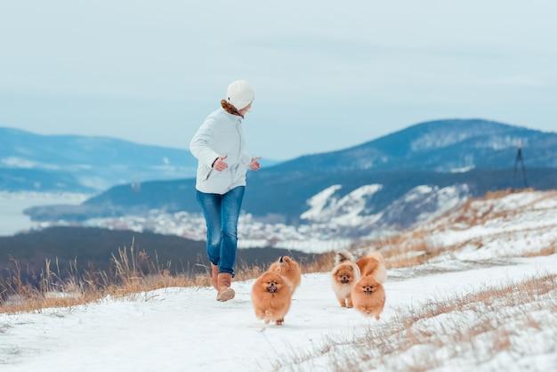 Kobieta biega zimą ze stadem psów rasy szpiców w górach. piękna sceneria.