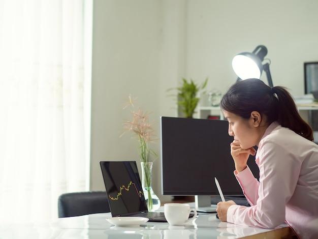 Kobieta biznesu handlująca akcjami forex, handlująca forex na platformie tabletowej i destop