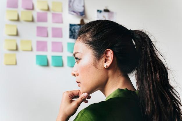 Kobieta burzy mózgów pomysły na ścianie