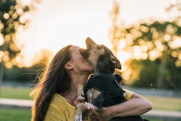 Kobieta całuje swojego psa na trawie ze słońcem w tyle. piękna kobieta całuje i trzyma psa w parku