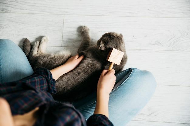 Kobieta czesanie ulubionego kota na podłodze