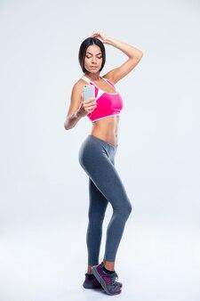 Kobieta fitness co selfie zdjęcie na smartfonie