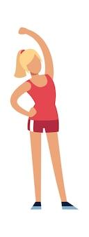 Kobieta fitness. kobiecy silny charakter w mundurze sportowym robi ćwiczenia, szczupła wysportowana dziewczyna w treningu odzieży sportowej, zdrowy styl życia płaski wektor kreskówka na białym tle ilustracja