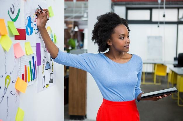 Kobieta grafik dając prezentację