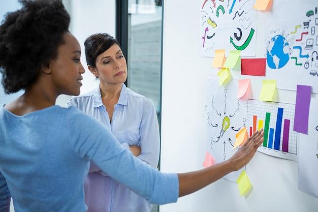 Kobieta grafik wskazując na karteczki na szkle w kreatywnym biurze