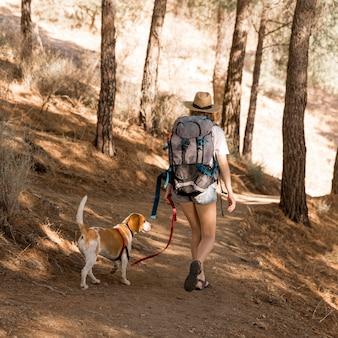 Kobieta i jej pies chodzą po lesie od tyłu strzał