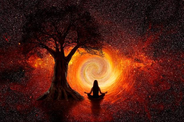Kobieta jogi we wszechświecie