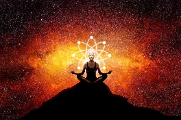 Kobieta jogi ze znakiem atomu