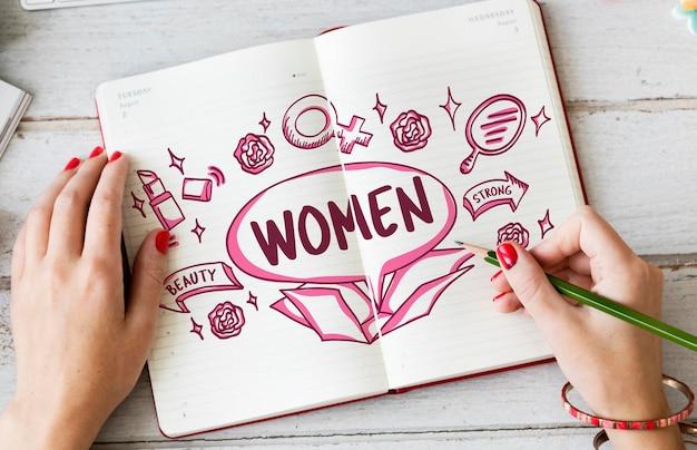 Kobieta kobieta piękno silna koncepcja