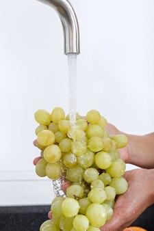 Kobieta kucharz myje kiść winogron pod wodą płynącą z kranu