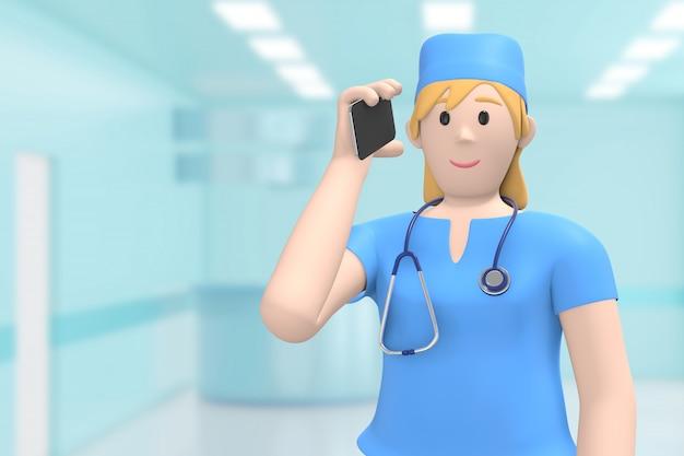 Kobieta lekarz w medycznym wnętrzu szpitala mówi przez telefon, odbiera połączenie. postać z kreskówki. renderowanie 3d.
