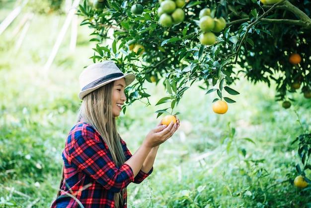 Kobieta mająca plantację pomarańczy